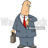 Businessman Checking Time On His Wristwatch - Royalty-free Clipart Illustration © Dennis Cox #6257