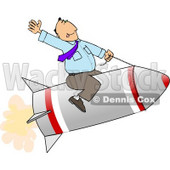 Businessman Flying On a Rocket - Royalty-free Concept Clipart Illustration © Dennis Cox #6260