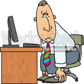 Tired Businessman Sitting at Computer Desk - Royalty-free Clipart Illustration © Dennis Cox #6261