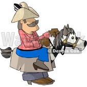 Cowboy Riding a Stick Horse Clipart Picture © Dennis Cox #6264