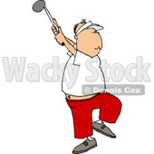 Middle Aged Man Golfing Clipart Picture © djart #6266