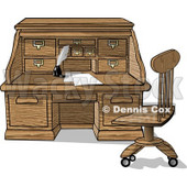 Wooden Roll Top Desk With Papers and Ink Clipart Picture © Dennis Cox #6269