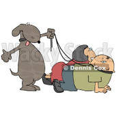 Happy Dog Walking His Owners on Leashes Clipart Picture © Dennis Cox #6272