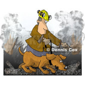 Man Handling a Search and Rescue Dog in a Burning Building Clipart Picture © djart #6275