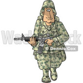 Army Soldier Armed with a Machine Gun - Royalty-free Clipart Picture © Dennis Cox #6277