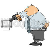 Mad Man Pointing a Gun at Toilet Paper Roll Clipart Picture © Dennis Cox #6282