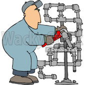 Man Working On Pipes with a Wrench Clipart Picture © Dennis Cox #6284