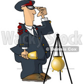 United States Salvation Army Attendant Saluting Beside a Donation Container Clipart Picture © Dennis Cox #6289