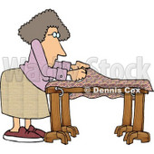 Woman Making a Quilt Clipart Picture © djart #6290