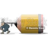 Man Pulling an Oversized Pencil Clipart Picture © Dennis Cox #6291