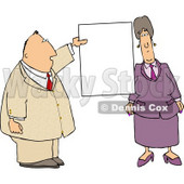 Business couple with a Blank Sign Clipart Picture © djart #6293