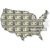 Royalty-Free (RF) Clipart Illustration of a USA Map With a One Hundred Dollar Bill Pattern © djart #62939