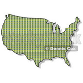 Royalty-Free (RF) Clipart Illustration of a Green Plaid USA Map © Dennis Cox #62940