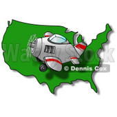 Royalty-Free (RF) Clipart Illustration of a Plane Flying Left Over A Green USA Map © Dennis Cox #62942