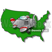 Royalty-Free (RF) Clipart Illustration of a Plane Flying Right Over A Green USA Map © Dennis Cox #62944