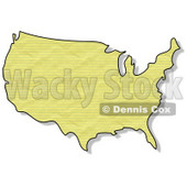 Royalty-Free (RF) Clipart Illustration of a Crinkled Yellow Paper Textured USA Map © Dennis Cox #62945