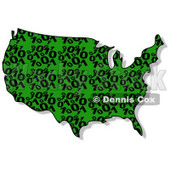 Royalty-Free (RF) Clipart Illustration of a Green and Black Binary USA Map © Dennis Cox #62947