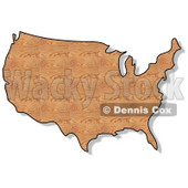 Royalty-Free (RF) Clipart Illustration of a Plywood Textured USA Map © Dennis Cox #62950