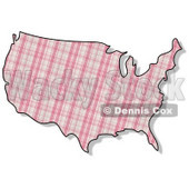 Royalty-Free (RF) Clipart Illustration of a Pink Plaid USA Map © Dennis Cox #62953