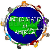 Royalty-Free (RF) Clipart Illustration of Children Holding Hands In A Circle Around A United States of America Globe © Dennis Cox #62959
