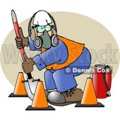 Worker Wearing Safety Gear While Digging with a Shovel Clipart Picture © djart #6296