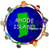 Royalty-Free (RF) Clipart Illustration of Children Holding Hands In A Circle Around A Rhode Island Globe © djart #62960