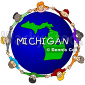 Royalty-Free (RF) Clipart Illustration of Children Holding Hands In A Circle Around A Michigan Globe © djart #62961