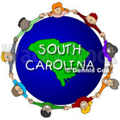 Royalty-Free (RF) Clipart Illustration of Children Holding Hands In A Circle Around A South Carolina Globe © djart #62962