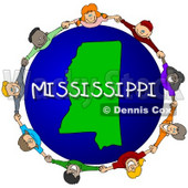 Royalty-Free (RF) Clipart Illustration of Children Holding Hands In A Circle Around A Mississippi Globe © djart #62963