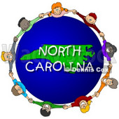 Royalty-Free (RF) Clipart Illustration of Children Holding Hands In A Circle Around A North Carolina Globe © djart #62965