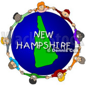 Royalty-Free (RF) Clipart Illustration of Children Holding Hands In A Circle Around A New Hampshire Globe © djart #62966