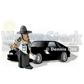 State Trooper Standing Beside a Ford Mustang Car Clipart Picture © Dennis Cox #6297