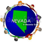 Royalty-Free (RF) Clipart Illustration of Children Holding Hands In A Circle Around A Nevada Globe © Dennis Cox #62971