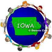 Royalty-Free (RF) Clipart Illustration of Children Holding Hands In A Circle Around An Iowa Globe © djart #62972