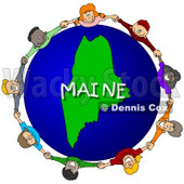 Royalty-Free (RF) Clipart Illustration of Children Holding Hands In A Circle Around A Maine Globe © djart #62973