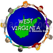 Royalty-Free (RF) Clipart Illustration of Children Holding Hands In A Circle Around A West Virginia Globe © Dennis Cox #62974
