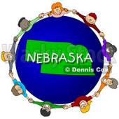 Royalty-Free (RF) Clipart Illustration of Children Holding Hands In A Circle Around A Nebraska Globe © djart #62975