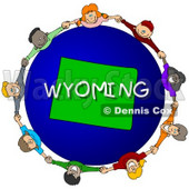 Royalty-Free (RF) Clipart Illustration of Children Holding Hands In A Circle Around A Wyoming Globe © djart #62977