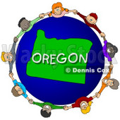 Royalty-Free (RF) Clipart Illustration of Children Holding Hands In A Circle Around An Oregon Globe © djart #62978