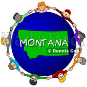Royalty-Free (RF) Clipart Illustration of Children Holding Hands In A Circle Around A Montana Globe © djart #62979