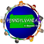 Royalty-Free (RF) Clipart Illustration of Children Holding Hands In A Circle Around A Pennsylvania Globe © djart #62980