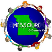 Royalty-Free (RF) Clipart Illustration of Children Holding Hands In A Circle Around A Missouri Globe © djart #62981