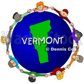 Royalty-Free (RF) Clipart Illustration of Children Holding Hands In A Circle Around A Vermont Globe © djart #62982