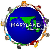 Royalty-Free (RF) Clipart Illustration of Children Holding Hands In A Circle Around A Maryland Globe © djart #62983