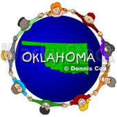 Royalty-Free (RF) Clipart Illustration of Children Holding Hands In A Circle Around An Oklahoma Globe © djart #62984