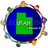 Royalty-Free (RF) Clipart Illustration of Children Holding Hands In A Circle Around A Utah Globe © djart #62985