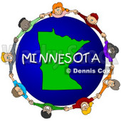 Royalty-Free (RF) Clipart Illustration of Children Holding Hands In A Circle Around A Minnesota Globe © djart #62986