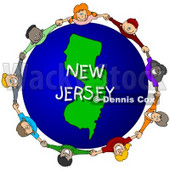 Royalty-Free (RF) Clipart Illustration of Children Holding Hands In A Circle Around A New Jersey Globe © djart #62987