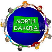 Royalty-Free (RF) Clipart Illustration of Children Holding Hands In A Circle Around A North Dakota Globe © Dennis Cox #62989