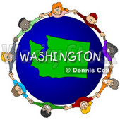Royalty-Free (RF) Clipart Illustration of Children Holding Hands In A Circle Around A Washington Globe © Dennis Cox #62990